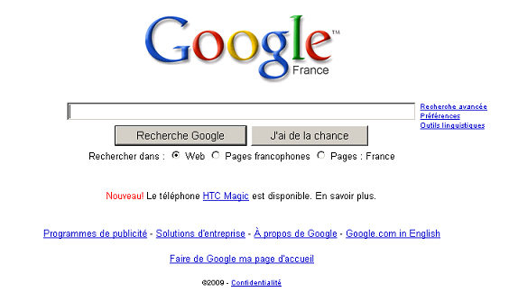Google fait de la pub pour le HTC Magic